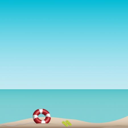 Beach scene with clear sky
