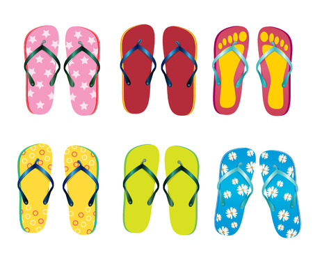 Six of beach slippers Illustration