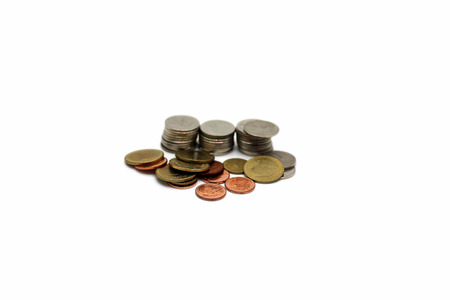 Thai baht coins isolated on white background