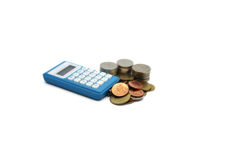 Thai baht coins and calculator isolated on white background
