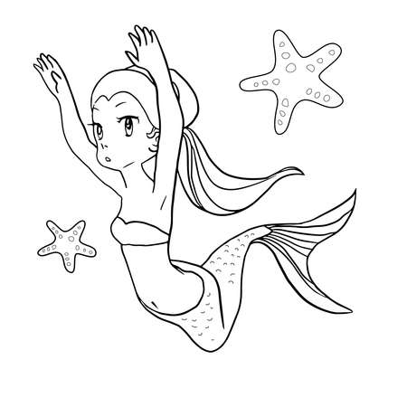 Cute line art mermaid colouring page for happy kids do activity.Cute line art mermaid colouring page for happy kids do activity. Stock Illustratie