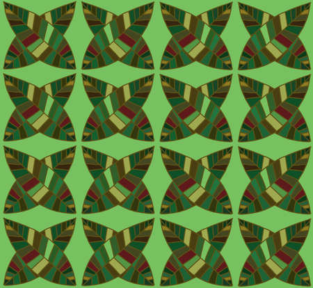 interesting music: Vector seamless floral hand-drawn pattern. Leaf background (seamlessly tiling). Ethnic pattern with leaf. Ornamental endless background. Doodle style backdrop. Geometric organic pattern. Color strips. Illustration