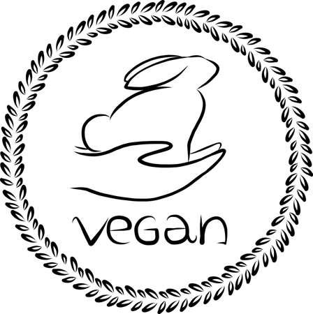 ethical: Vector vegan . Vegan badge. Vector rabbit outline. Vegan icon design. Go vegan design. Ethical . Green . Kind hands design. Good hand to animals. Template for vegan design. Illustration