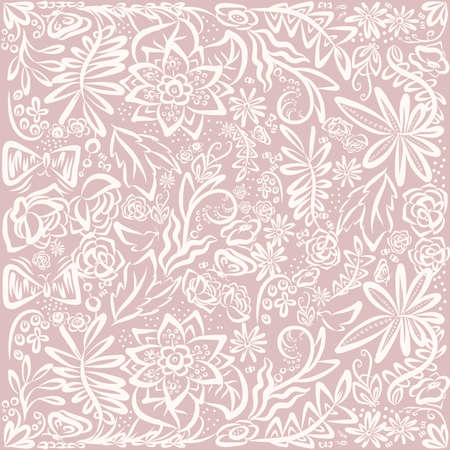 glade: Gentle color floral pattern. Vector pattern for kids design. Forest floral pattern. Hand drawn ornamental background. Detailed flowers backdrop. Background with flowers, leafes, butterflys. Vector floral glade. Can use as wallpaper, wrapping, design.