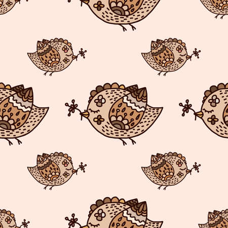 daring: Seamless vector cartoon birds background. Romantic vintage backdrop. Lovely pattern in gentle colors. Cute vintage hand-drawn illustration. Endless kids design. Ornamental elements.  Can use as wrapping, wallpaper, web site design.