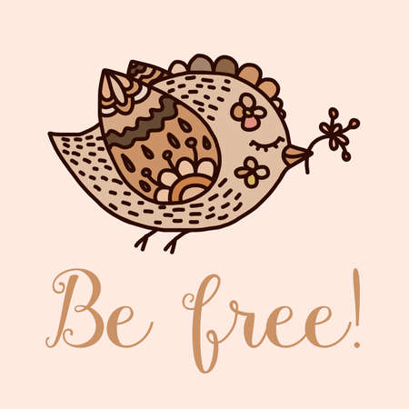 be aware: Vector vintage hand-drawn illustration. Cute cartoon birds in vector. Lovely greeting card. Decorative ornament. Romantic doodle background. Motivator message. Pastel gentle colors. Kids illustration. Summer background in bright colors.