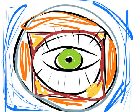 third eye: Vector abstract eye. The original hand draw logo. Abstract colorful waves. Flight of fancy illustration. Creative look. Meditation. Stream of consciousness. Enlightened mind. Illustration