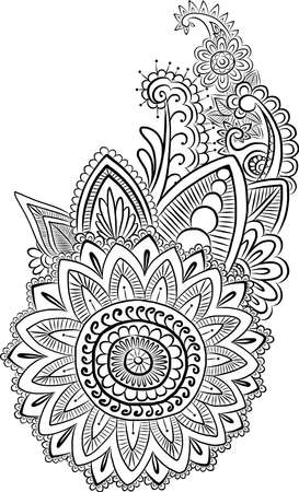 ornaments floral: Vector ethnic mehndi pattern. Template for mehndi ornament. Hand drawn detailed outline pattern. Ornamental flowers. Set of indian style ornaments. Floral mehndi ornamental elements. Henna vector illustration.