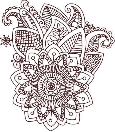 sacral: Vector geïsoleerd patroon doodle stijl mehndi Indische fantasie decoratie sjabloon ornament hand getrokken ontwerp gedetailleerd overzicht bloemen set floral elementen henna etnische traditionele avondmaal bruine mandala bloem reizen sacrale teken zon bewustzijn mooie exoti
