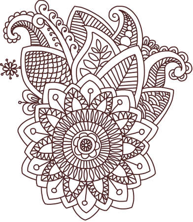 sacral: Vector isolated pattern doodle style mehndi Indian fantasy decoration template ornament hand drawn design detailed outline flowers set floral elements henna ethnic traditional sacral sign sacrament brown mandala flower travel sun awareness beautiful exoti