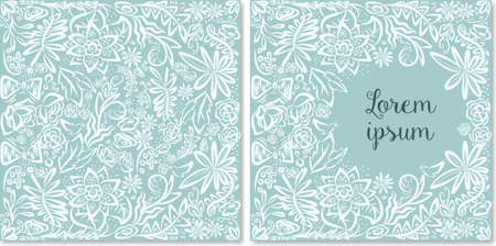 Vector template of vintage card. Hand drawn floral greeting. Wedding invitation background. Ornamental floral design. Detailed flowers backdrop. Romantic announcements. Lovely gentle wallpaper.