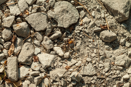 fragments: Crushed fragments of concrete on the ground