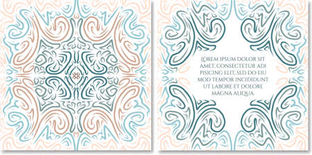 celadon: Ornamental hand drawn greeting card template in abstract style. Fairy ethnic birthday, wedding, baby shower party invitation. Can be used as photo books design.Selection of colour schemes- in portfolio
