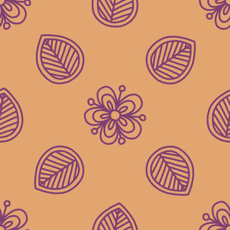 doodling: Seamless vector hand-drawn mehndi pattern. Floral doodling ornament in Indian style. Can be used as wallpaper, pattern fills, wrapping, fabric print. Selection of colour schemes - in portfolio.
