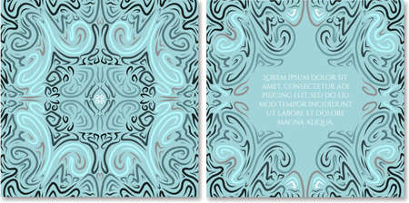 Ornamental hand drawn greeting card template in abstract style. Fairy ethnic birthday, wedding, baby shower party invitation. Can be used as photo books design.Selection of colour schemes- in portfolio