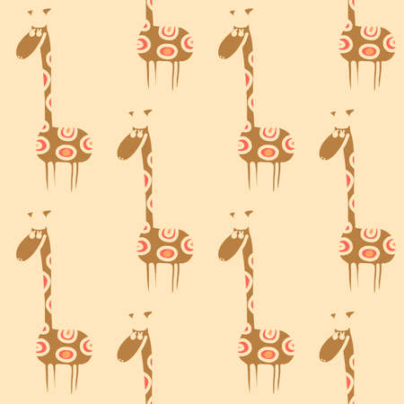 doodling: Vector seamless giraffe pattern. Doodling cute kids design. Can be used as wallpaper, pattern fills, wrapping, fabric print. Selection of color schemes - in portfolio.