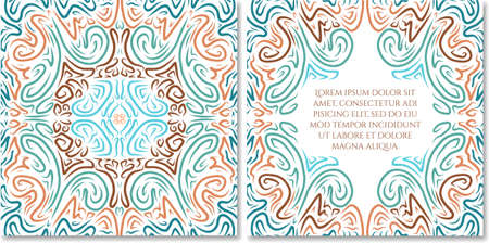 celadon green: Ornamental hand drawn greeting card template in abstract style. Fairy ethnic birthday, wedding, baby shower party invitation. Can be used as photo books design.Selection of colour schemes- in portfolio