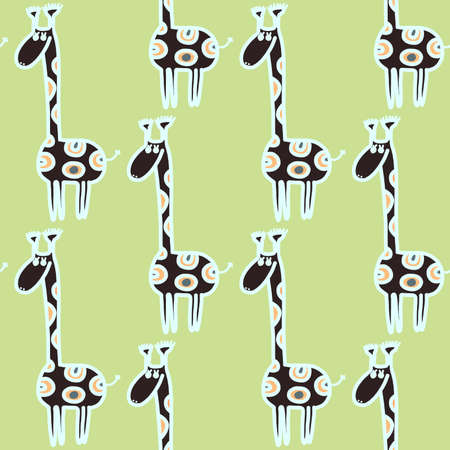 color selection: Vector seamless giraffe pattern. Doodling cute kids design. Can be used as wallpaper, pattern fills, wrapping, fabric print. Selection of color schemes - in portfolio.