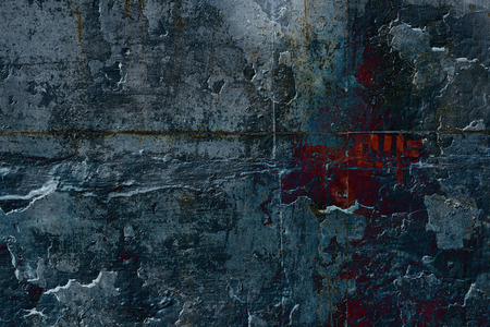 sinister: Grunge sinister dark ink stone wall with red inscription. Psychedelic background.