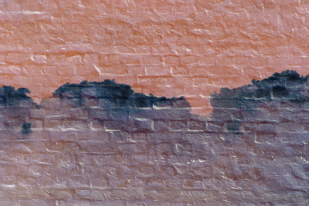 3rd ancient: Abstract brick ink clouds on the wall. Psychedelic background. Stock Photo