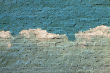 third eye: Abstract brick white clouds on the wall sky. Psychedelic background. Stock Photo