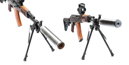 ak47: ak-47 machinegun with custom butt, reflex sight and bipod Stock Photo