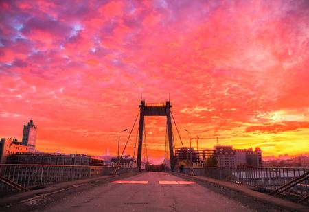 hdri: Sunset on the abandoned cable-stayed bridge