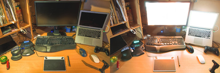 ergonomic keyboard: workspace of a digital artist. different light shemes. realistic lifestyle photography