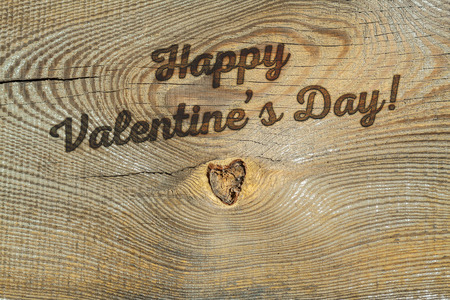 woodburning: Happy Valentines day! Greeting card with natural background