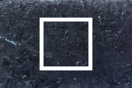 psychedelic background: White flat square on abstract stone background. Abstract psychedelic background.