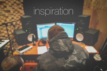 Recording studio blurry background with lettering