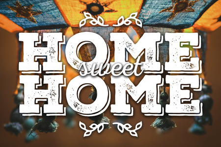 lampshade: Home sweet home. Warm and cozy card. Stock Photo