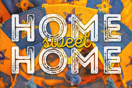 cozy: Home sweet home. Warm and cozy card. Stock Photo
