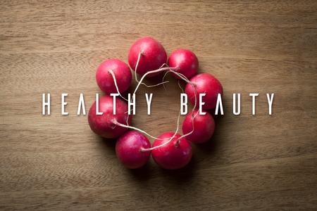 radish: Healthy beauty. Radish accessory. Stock Photo
