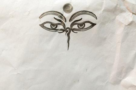 third eye: Hand drawn Eyes of Buddha on mauled paper