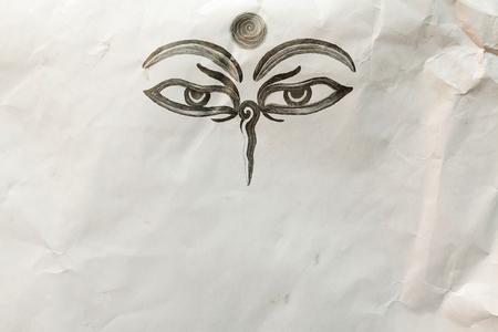 third eye: Hand drawn Eyes of Buddha on mauled paper