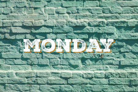 weekday: Brick wall shabby paint weekday cards.