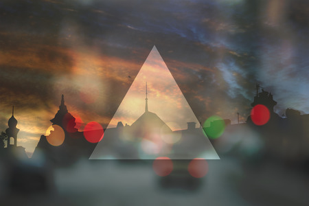 third eye: Flat triangle on abstract cityscape background