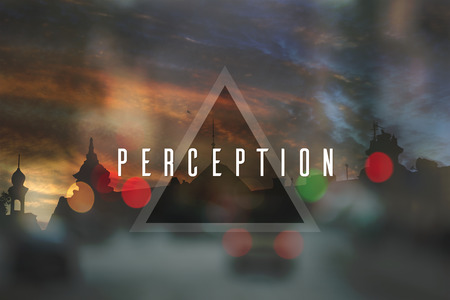 perception: Perception. Flat triangle on abstract cityscape background Stock Photo