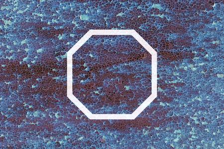 grunge metal: Flat octagon on abstract grunge metal texture Stock Photo