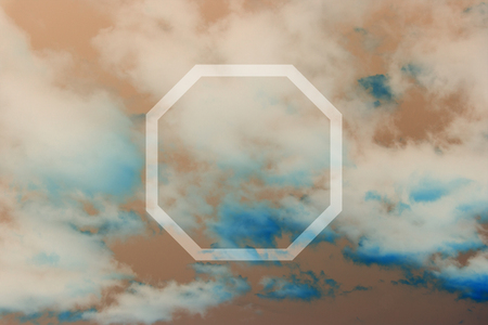 octagon: Flat octagon on abstract sky background