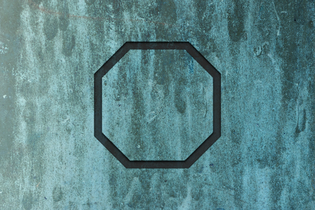 octagon: Flat octagon on abstract grunge metal texture Stock Photo