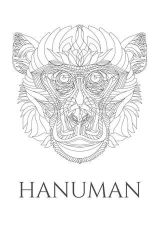 simplification: Vector meditating Hanuman
