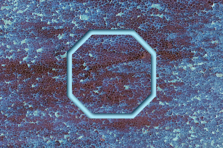octagon: Blue octagon on abstract grunge metal texture