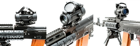 gunsight: Collimator sight on AK-47 machinegun