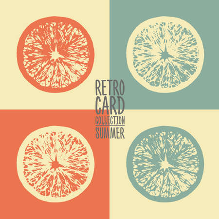 natural juices: Retro minimalistic creative cards with citrus slices. Vector summer template. Fresh jiuce beach bar poster background.