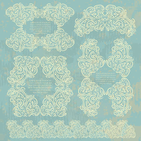 massive: Vector collection of creative curls frames. Decorative massive ornamental vignettes on vintage dirty background. Isolated templates.