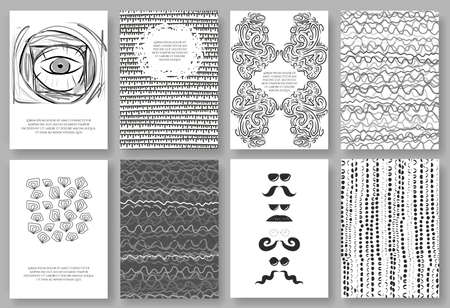 greyscale: Set of eight vector vintage hipster cards. Hand drawn greyscale minimal design templates.