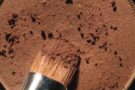 eyeshadow: Macro crumbly eyeshadow refill. Professional cosmetic. Makeup tools. Stock Photo