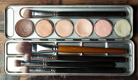concealing: Professional cosmetic. Cream concealer palette in metal case. Expensive makeup brushes made of special fibers to work with creamy textures. Working with skin defects.